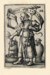 Print, Peasant Woman at Market: Zum Wein wolt wir Laufen (To wine we will run), ca. 1542