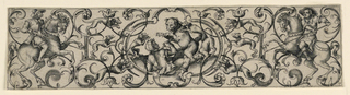 Horizontal rectangle showing a symmetrical grotesque design composed of scrolling arabesques and a bear being attacked by hounds. On either side, a rider with spear.