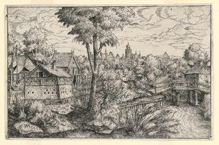 Landscape depicting a village, a rustic bridge over a stream and a city in the distance.