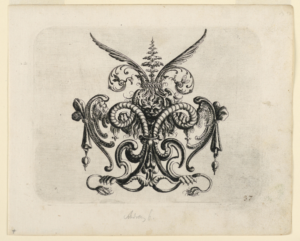 Ornamental cartouche, composed of cartilage-like membes which terminate in wings, bird feet and fish forms. In the center, a lion's head with long mane.