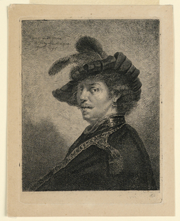 Rembrandt's self portrait, his body facing left with his head turned facing almost frontally.