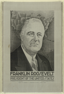 Jacquard woven portrait of Franklin Roosevelt (1882-1945) designed by M. Buchman at weaving school, Lyon, France.