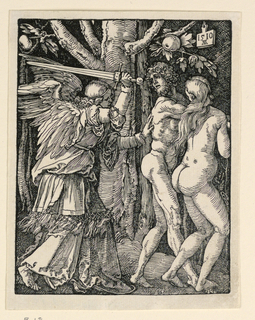 Adam and Eve move toward right, pursued by a winged angel, carrying an upraised sword in his left hand, and gently pushing Adam with his right. Monogram of Dürer and date 1510 on tablet suspended from branch of tree at upper right.