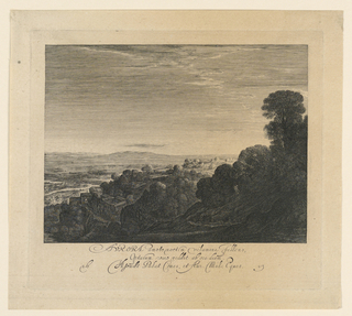 "Landscape with a valley at left, mountains and trees on right. Horizon at mid-distance. Inscribed, lower margin, center: ""Aurora amomto noctem ... abore diem"" / ""16 H. Goude polat. comes, et  Aur. Mil. Eques. 13""."