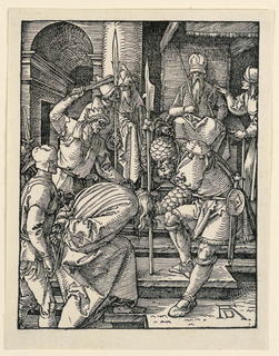 Annas is seated beneath a canopy in the background, upper right. Christ is being led toward him from the left, his hands bound behind his back. Monogram of Dürer, lower right.