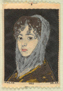 """Woven souvenir based on the painting 'Señora Sabasa Garcia' (c. 1806/1811) by Francisco Goya (1746-1828). """"W.W.L. CO. 1962 DEL. H.H."""" appears below the portrait. Black, blue, golden-yellow, pink, and salmon on white warp."""