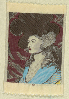"""Woven souvenir based on the painting 'Mrs. Siddons' (1785) by Thomas Gainsborough (1727-1788). Yellow, blue, black, gray, and burgundy on white warp. """"12"""" appears under the portrait."""