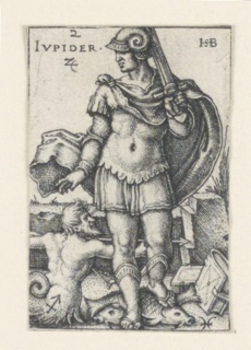 """The figure of Jupiter, facing the viewer, and holding a sword in his left hand, is accompanied by Sagittarius (the archer) and Pisces (the fishes). At upper left is the word """"IUPIDER"""" and the symbol for tin."""