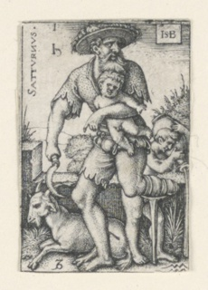 """The figure of Saturn, his left foot missing, moving to left and holding an infant under his left arm, is accompanied by Capricornus (goat), lower left, and aquarius (the water bearer), right. At upper left is the word """"SATURNUS"""" printed vertically and the symbol for lead."""