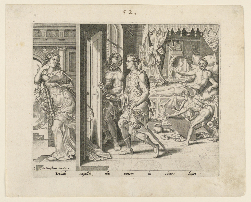 Ammon appears in bed ordering his servants to eject his sister Thamar, who leaves the room by a door in the left foreground.