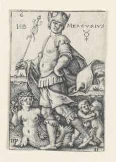 """The figure of Mercury is seen moving to the left, his head turned toward the viewer. His left hand rests on his hip; his staff is held in his right hand. He is accompanied by Virgo (the Virgin) and Gemini (the twins). At upper right, the word """"MERCURIUS,"""" and the symbol for quick-silver (mercury)."""