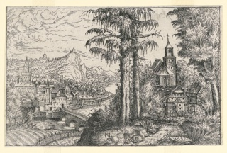 Print, Landscape with a Church Surrounded by Trees and other Houses