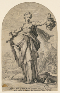 Judith stands in the foreground holding aloft the severed head of Holofernes. In her right hand she holds a sword. She is dramatically lit from the left which allows shadows to define her voluminous drapery. In the landscape behind her, there are hills to the left and at right, the tent where Judith is shown killing Holofernes.