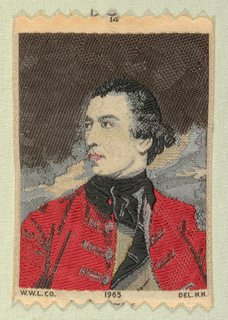 "Woven souvenir based on the painting 'General John Burgoyne' (c. 1766) by Sir Joshua Reynolds (1723–1792). ""14"" appears above the portrait. ""W.W.L. CO. 1965 DEL. H.H."" is below the portrait. Red, black, gray, and salmon on white warp."