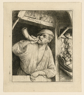 Print, A Baker Blowing his Horn
