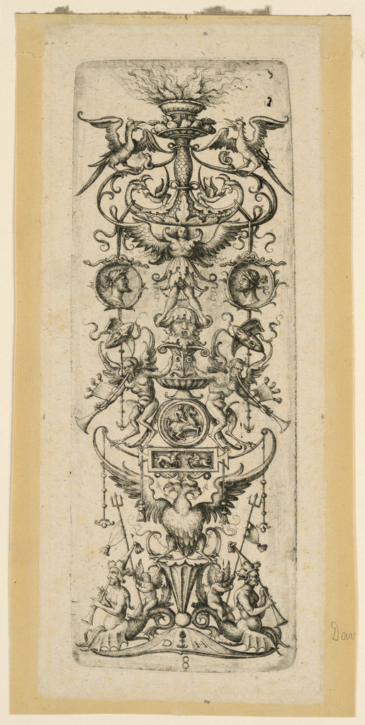Vertical rectangle showing candelabrum motif composed of a double-headed eagle, mask, cameo coins and fantastic creatures.