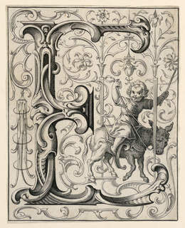 """Print, Panel with the Letter """"E"""" from the """"Newes ABC Büechlein"""""""