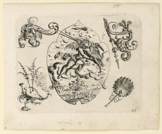 Ornamental escutcheon, center, with a scene of a putto embracing a stork-like bird on a cloud bank, with landscape below. At the four corners, fantastic creatuers, two conmposed of bellows and fan.
