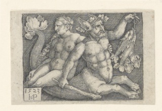 A figure of a Triton bearing a nymph on his back. He faces right and holds two fish in his left hand; a club in his right hand. The nymph is seen in profile, facing left. At lower left, in a tablet, the artist's monogram and the date 1523.