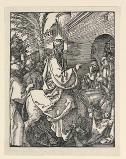 Christ, seated on a donkey, is seen in profile, moving toward the right. A crowd of people about Him and at the gate entrance. Monogram of Dürer, seen in reverse, appears above the arch of the gate, upper right.
