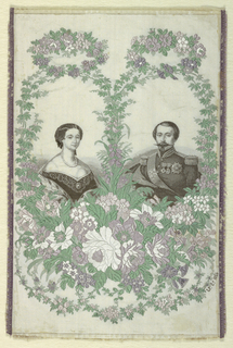 White silk ribbon brocaded with portraits of Eugenie and Napoleon III, enclosed in much floral ornament in shades of green and lavendar; ribbon edge picoted in lavendar. At lower right, woven initials and date: LF Ce 1865.