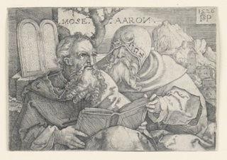 Figures of Moses, at left, and Aaron, at right, are represented reading a book which they hold together. Both are shown as seated and half-length figures. The Tables of The Law (Ten Commandments) are seen, upper left. A mountain village, upper right. The date 1526 and the artist's monogram, upper right.