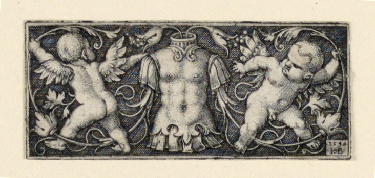 Print, Frieze with Cuirass at Center, Flanked by Two Genii