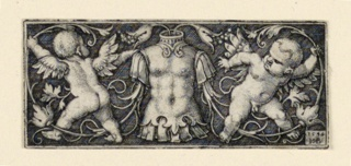 Print, Frieze with Cuirass at Center, Flanked by Two Genii, ca. 1544