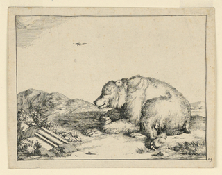 Print, Recumbent Bear, from a Se, 1664