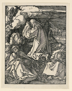 Christ is seen kneeling, facing left in profile.  Three of the disciples are asleep in the foreground. An angel with a cross appears at upper left. Monogram of Dürer on tablet, lower left.