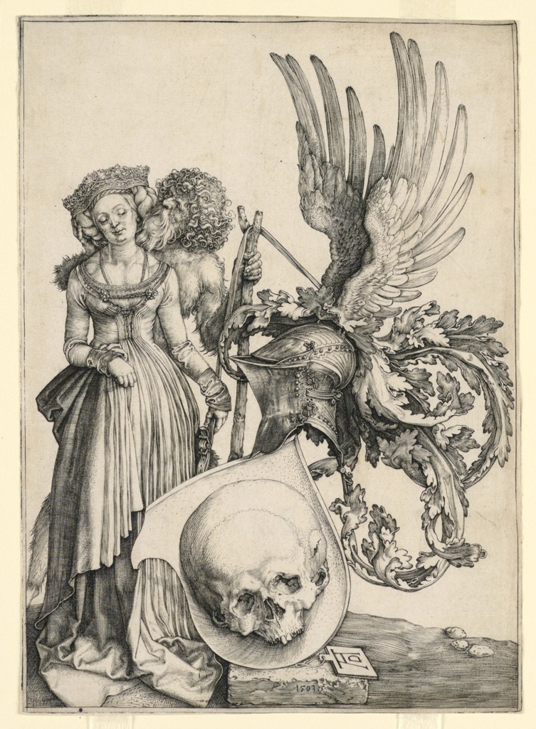 At left a young woman stands, accompanied by a savage man, who caresses her. His staff holds a strap which supports an escutcheon with a helmet crested by wings, ornamented with curling drapery and a shield containing a skull.