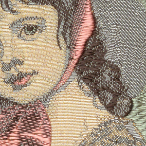 """Woven souvenir based on the painting 'Miss Juliana Willoughby' (1781-1783) by George Romney (1734-1802). """"W.W.L. CO. 1959 DEL. H.H."""" below portrait. W.W.L. CO. represents Warner Woven Label Co. Del H.H. is the designer's (Howard Huffsschmidt) initials. In twisted green and brown, yellow, gray, black, pink, and salmon on white warp."""