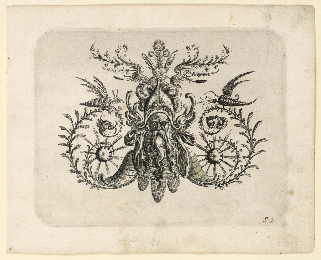 Ornamental motif composed of a grotesque head of an old bearded man wearing armor, from whose shoulder plates project vines and exploding canon-balls. His hat is composed of a rabbit with wings.