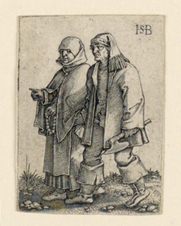Print, The Wedding Procession: Couple walking left, woman holding a rosary