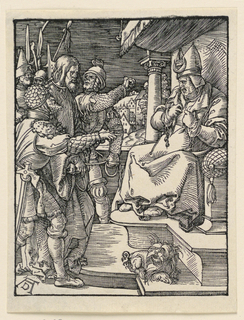 Caiaphas is seated on a canopied throne at right, facing left. Christ is led before him by soldiers. View of town in background. Monogram of Dürer, lower left.