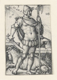 """The figure of Mars, turned toward the right, and carrying a battle axe in his left hand, a sword in his right hand, is accompanied by Aries (the ram) and Scorpio (the scorpion). At upper left the word """"MARS"""" and the symbol for iron."""