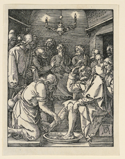 Interior, seen by candlelight. Christ, kneeling at left in the foreground, washes the feet of one of his disciples. Other disciples are in the background. Monogram of Dürer, lower right.