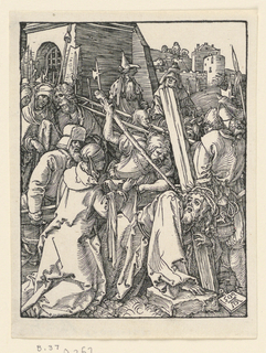 Christ, shown in the foreground, right, has fallen to his knees under the weight of the cross. Saint Veronica comes toward him with her handkerchief. Soldiers and others in background. View of city in distance. Monogram of Dürer and date 1509 on tablet, lower right.
