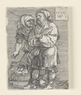 At right, a figure of a peasant stands, his arms folded, facing to the left. Beside him stands a woman, speaking to him. At lower left is seen a basket of eggs. At upper right is a tablet with the artist's monogram and the date 1520.