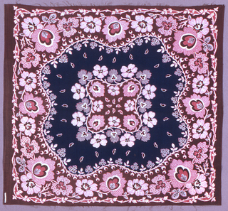Square or handkerchief in a floral design with a central floral cluster surrounded by navy blue border. Deep floral border in shades of blue and red with a meandering vine pattern along the inner and outer edges.