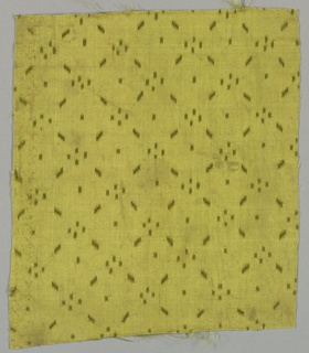Olive green satin slashed in a pattern of intersecting diagonal lines.