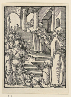 Interior, with Pilate standing in the background at the head of a stairway. Christ is brought before him by soldiers, in left foreground. A man, gesturing, stands at right. Monogram of Dürer near lower center.