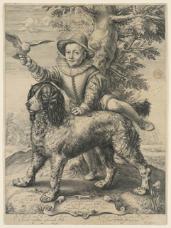 A boy, holding a bird in his right hand is about to climb on to the back of a large shaggy dog. The portrait is supposed to be that of the son of Theodore Frisius, the Venetian painter to whom Goltzius dedicated the print. Inscription and date 1597 with monogram H. Q.