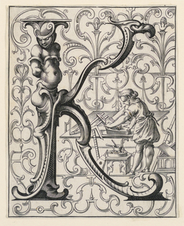 """Print, Panel with the Letter """"K"""" from the """"Newes ABC Büechlein"""""""