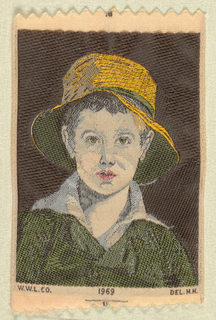 "Woven souvenir based on the painting 'The Torn Hat' (1820) by Thomas Sully (1783-1872). ""W.W.L. CO. 1969 DEL. H.H."" woven in lower part. W.W.L. CO. represents Warner Woven Label Co. Del H.H. is the designer's (Howard Huffsschmidt) initials. In black, gold-yellow, red, green, and salmon on white warp."