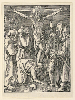 Christ is on the cross in the center of the composition, facing the spectator. The holy women and Saint John standing at left, Mary Magdalen kneels at the feet of Christ, her left hand covering her face. Soldiers at right. Monogram of Dürer on stone, near lower right.