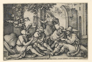 Print, Job Conversing with his Friends, 1547