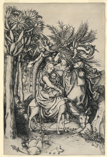 The Virgin, seated on a donkey, with the Christ Child on her lap, passes under a date palm, from which the fruit is being shaken by angels, and caught by Joseph.