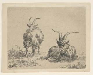 Two goats in middle foreground. One, at right, lying in frontal view; the other goat, left, standing, with his back towards the spectator. No inscriptions.