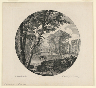 Left foreground, a tree. Center, a rectangular pool fed by a fountain, walled in to flow into another pool and then stream over rocks in the foreground. On either side trees.  Right, a statue on a pedestal and some figures.
